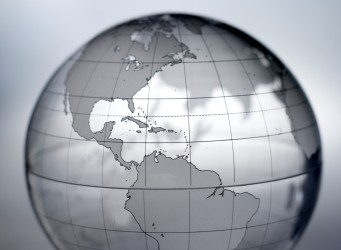 The Americas on translucent globe, close up